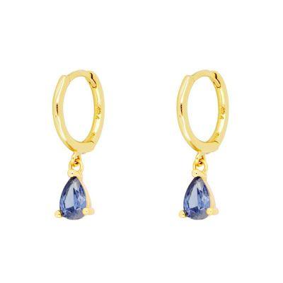 Aros Gota Azul Gold