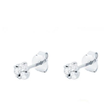 Pendientes Mini Blancos Plata