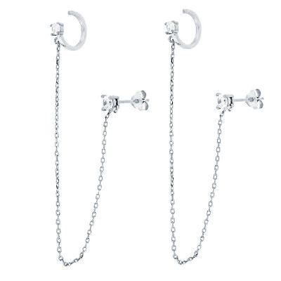 Ear Cuff Chain Plata