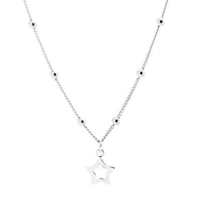 Collar Estrella Bolitas Plata
