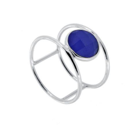 Anillo Piedra Azul Plata