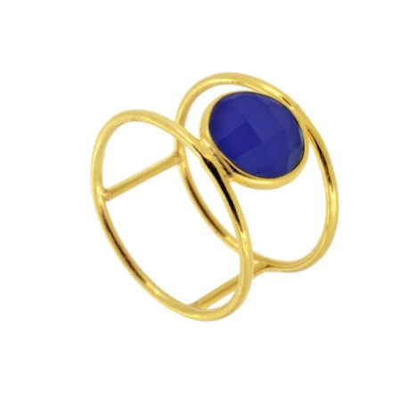 Anillo Ropada Azul Oro