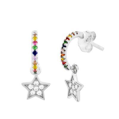 Aros Multicolor Estrella Plata