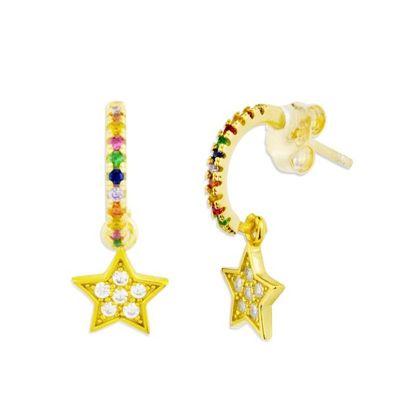 Aros Multicolor Estrella Gold