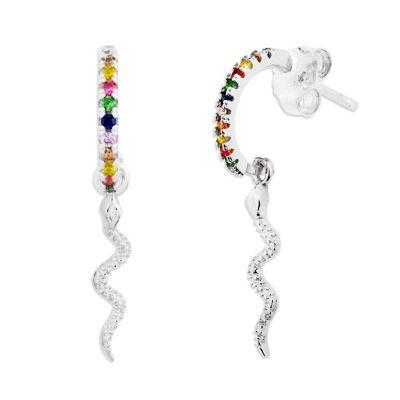 Aros Multicolor Snake Plata