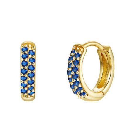 Aros Azules en Oro