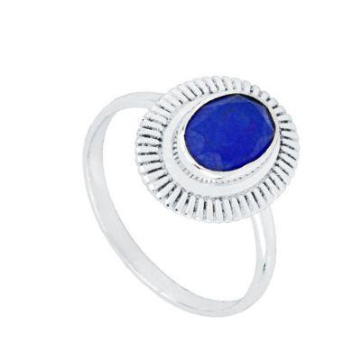 Anillo Minerva Jade Azul Plata