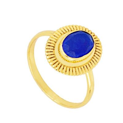 Anillo Minerva Jade Azul Gold