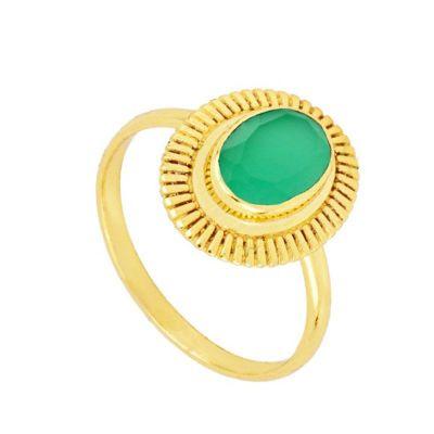 Anillo Minerva Calcedonia Verde Gold