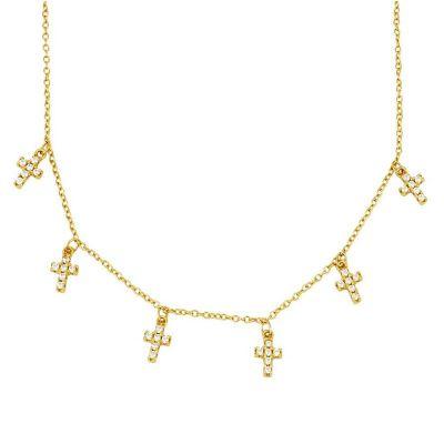 Gargantilla de oro mujer con cruz