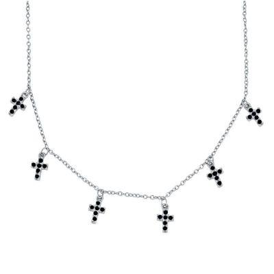 Gargantilla de plata y cruz con piedras