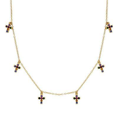 Gargantilla de mujer piedras colores con cruces