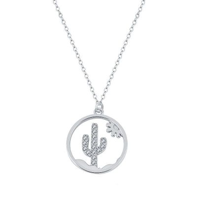gargantilla de plata con cactus