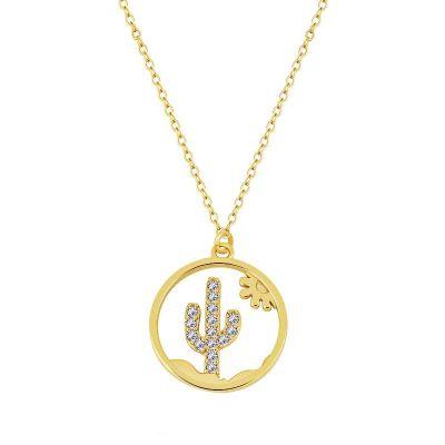 gargantilla de moda en oro con cactus