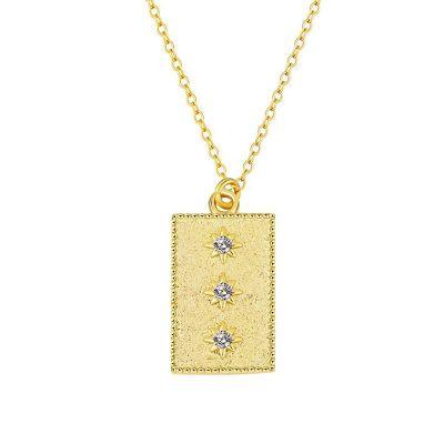 colgante de plata dorado medalla estrellas