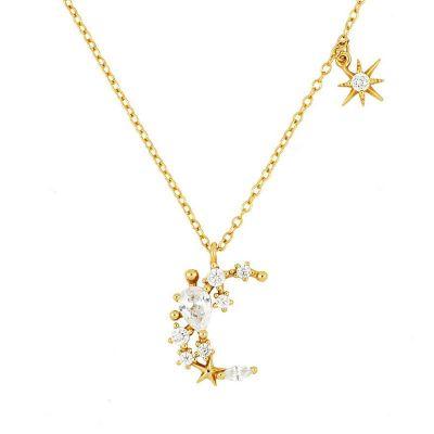collar de oro con colgante media luna