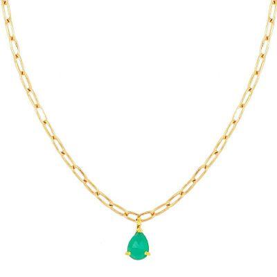gargantilla de oro piedra natural calcedonia verde