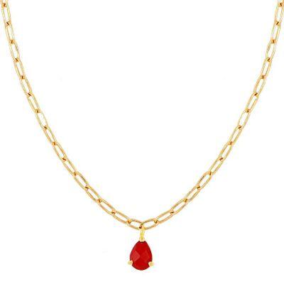 gargantilla de oro con piedra coral