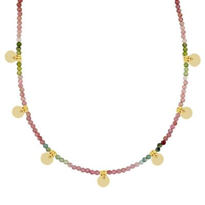 gargantilla de oro para mujer con piedras colores