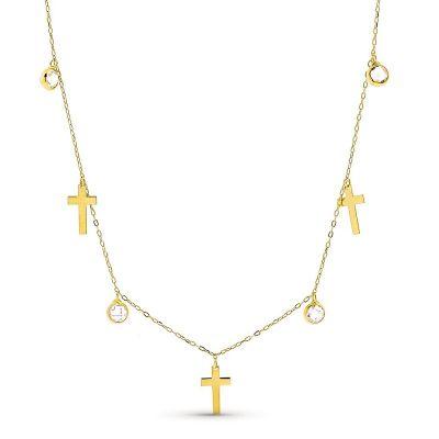 Gargantilla Mujer Cruces Oro Amarillo 18K 42 Cm
