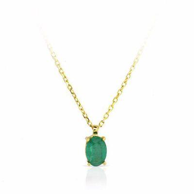 Gargantilla Mujer Esmeralda 6x4 Mm Oro Amarillo 18K 40 Cm