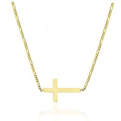 Gargantilla Mujer Cruz 20 Mm Oro Amarillo 18K 45 Cm