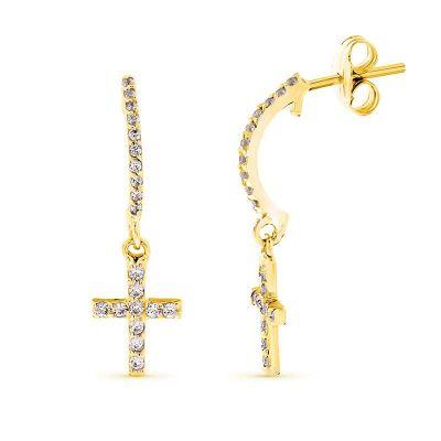 pendientes de aro oro amarillo 18k con cruz
