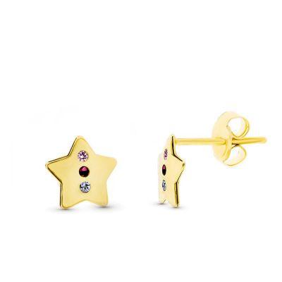 pendientes de mujer estrellas oro amarillo 18 ktes piedras