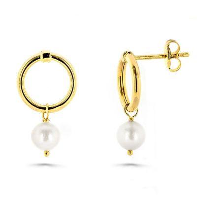 pendientes de mujer aros con perlas oro amarillo 18 ktes