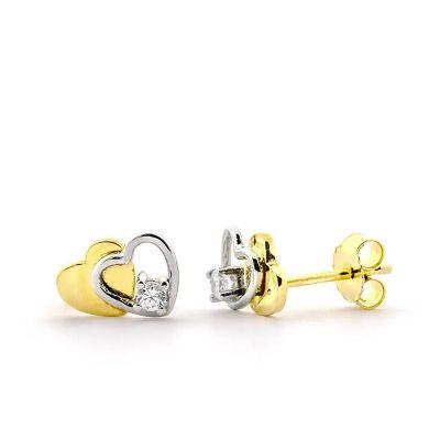 pendientes de mujer corazones oro bicolor