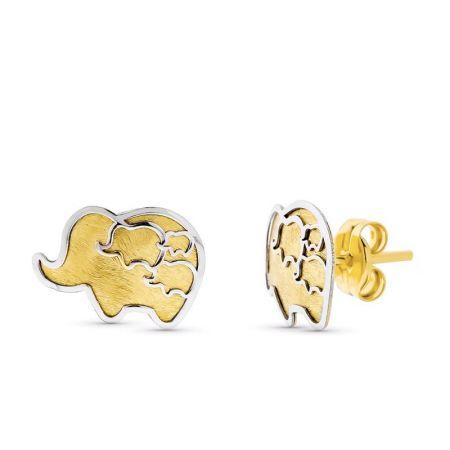 pendientes de mujer elefantes oro bicolor