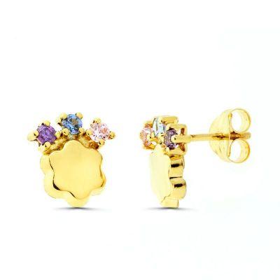 pendientes de mujer flor con piedras oro amarillo 18ktes