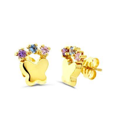 pendientes de mujer mariposa con piedras oro amarillo 18ktes
