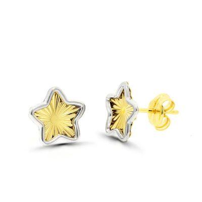 pendientes de mujer oro bicolor 18 ktes estrellas