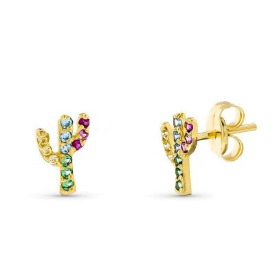 Pendientes Cactus Color Oro Amarillo 18K 7 MM
