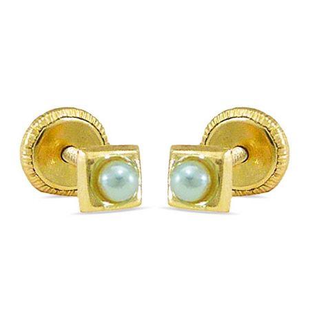 pendientes de bebe con perlas oro