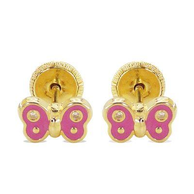 Pendientes Bebé Mariposa Rosa 7 Mm Oro Amarillo 18K