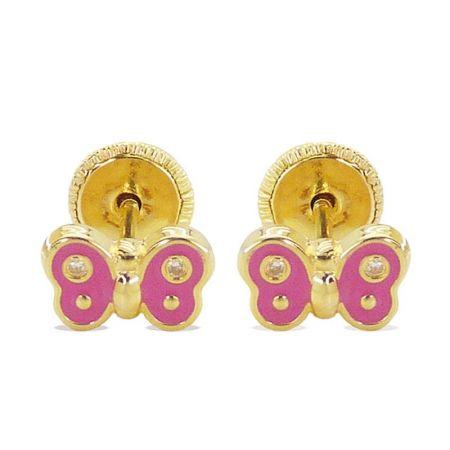 pendientes de bebe oro mariposa rosa
