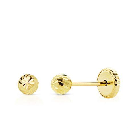 pendientes de oro bola tallada 3 mm