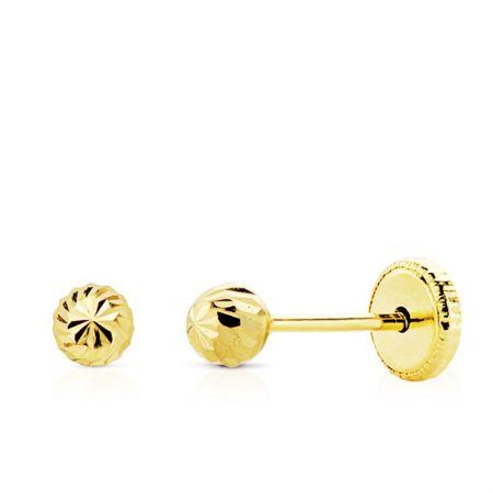 pendientes de oro bola tallada 4 mm
