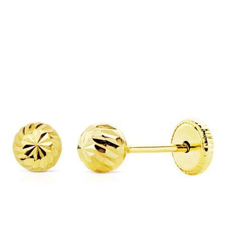 pendientes de oro bola tallada 5 mm