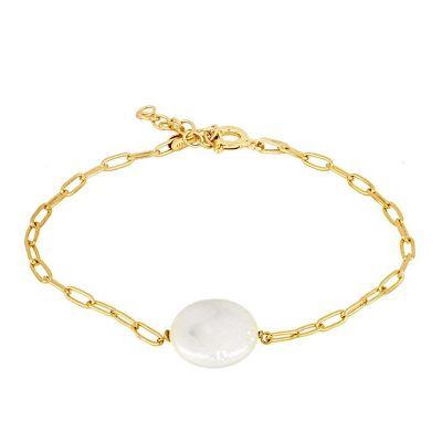pulsera de oro para mujer con perla blanca