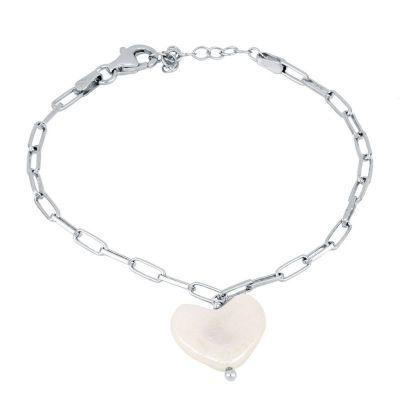 pulsera de plata con perla de corazon