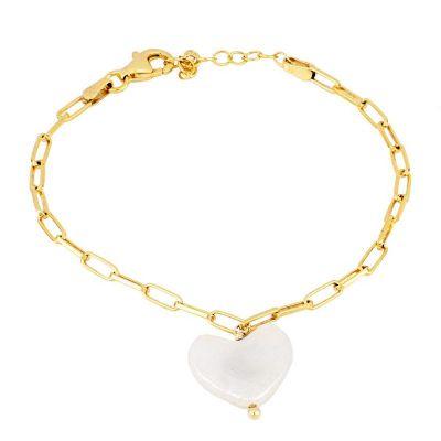 pulsera de oro con perla de corazon