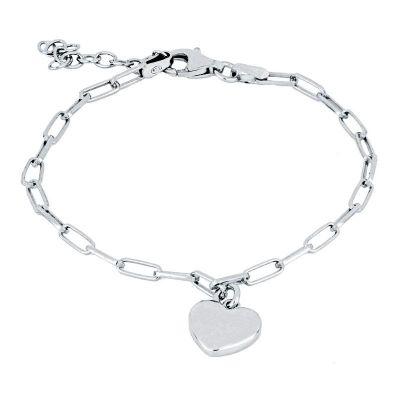 pulsera de plata con colgante de corazon