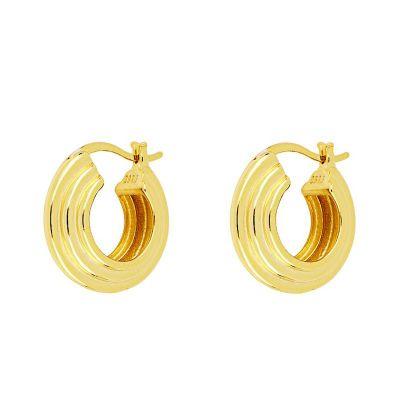 aros de plata dorados anchos para mujer
