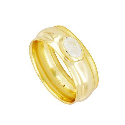 anillo ancho de oro con piedra luna