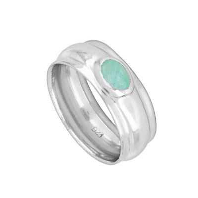 anillo ancho de plata con amazonita