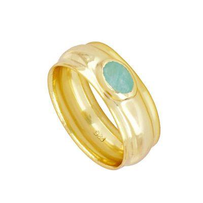 anillo grande de oro con piedra natural