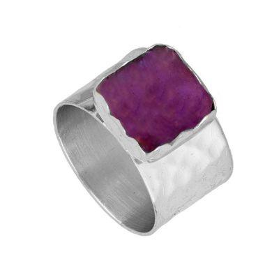anillo ancho de plata con amatista